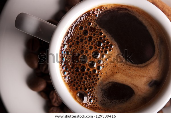 white coffee cup on background