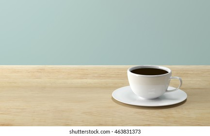 White coffee cup on wood table