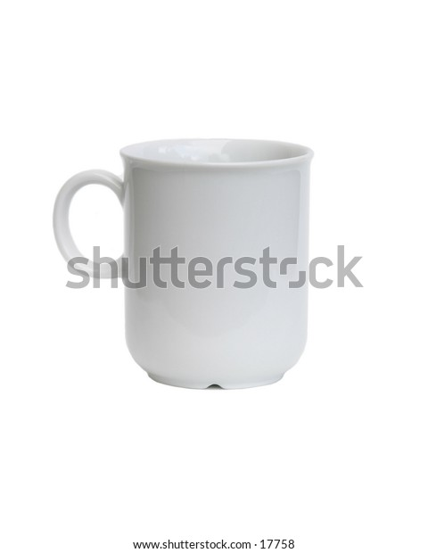 A white coffee cup viewed from the side isolated on white with clipping path.