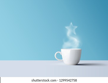 white coffee mug with aroma smoke and star
