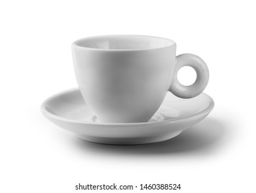 White coffee mug front view arrangement isolated on white background ready to branding with copy space studio shot