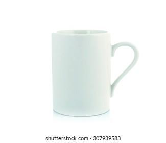 white coffee mug isolated on white background.