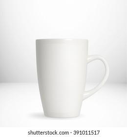 White coffee mug isolated on white background