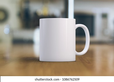 White coffee Mug Mockup. Close-up of a white mug on a wooden table. Great for overlaying your custom quotes and designs for selling mugs.