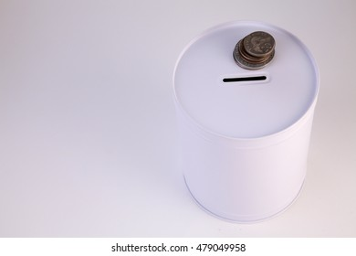 white coin box on the white background