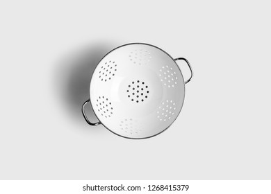 White Colander isolated on white background.Top view.High resolution photo.