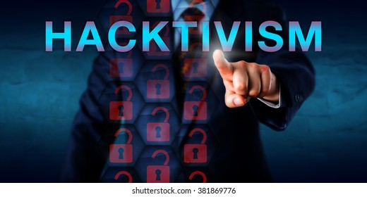 White collar criminal is touching HACKTIVISM on a virtual screen. Internet security concept for cyberterrorism, technological hacking activity, website mirroring and circumvention of access controls.