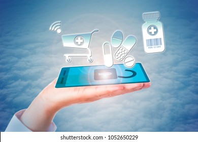 White collar worker hand holding virtual cell phone in open palm enacting a secure e-shopping transaction for pharmaceuticals online. Pharma retail metaphor for self-care and healthcare consumerism.