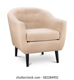 White color armchair. Modern designer chair on white background. Textile chair. Series of furniture.