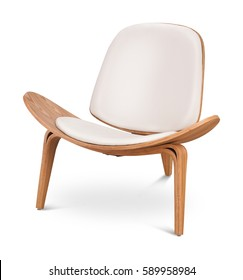 Weißer Sessel. Moderner Designerstuhl auf weißem Hintergrund. Textil, Leder, Holzstuhl. Möbelserie.