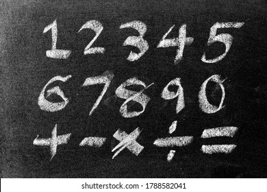 White color chalk hand drawing of number and mathematics symbol (Plus, minus multiply, divide and equal sign) on blackboard background