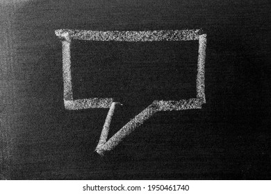 White color chalk hand drawing in square bubble speech shape with blank space on blackboard or chalkboard background