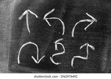 White color chalk hand drawing in set of arrow shape on blackboard or chalkboard background