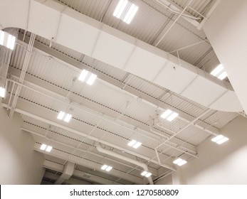 White color ductwork in warehouse