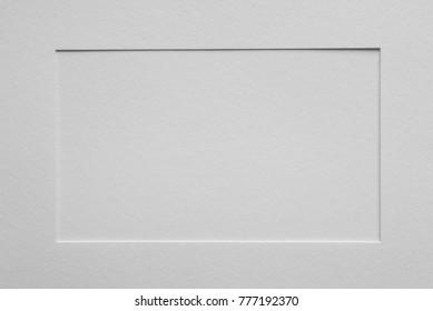 white color empty paper picture frame passepartout