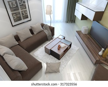 White color in the interior of the living room. 3D render
