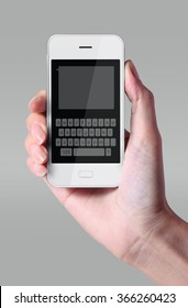White color keyboard on smartphone. The most promising technologies in the mobile market is flexible and transparent displays.