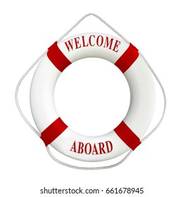 White color Life buoyancy with  red stripes and  text welcome aboard on it. Perfect for greeting concept.Isolated on white background with clipping path work.