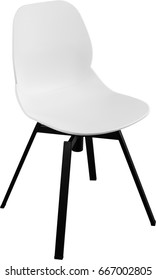 White color plastic chair, modern designer. Swivel chair isolated on white background. furniture and interior