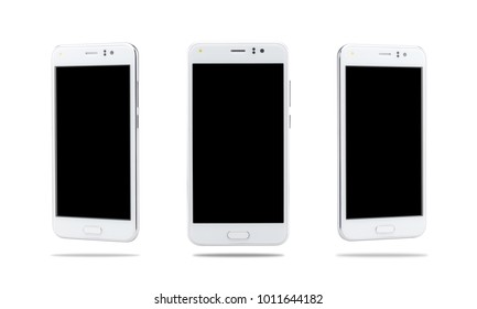 white color smartphone isolated on white background