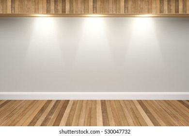 White colors wall & wood floor interior with light spots,3D illustration