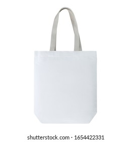 White colour fashion canvas recycled tote bag with cotton woven handle. Match with casual outfit. Suit for shopping & gathering, groceries and even as a gift. Design Template for Mock-up, advertising.