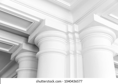 White columns with portico, empty white classic interior fragment
