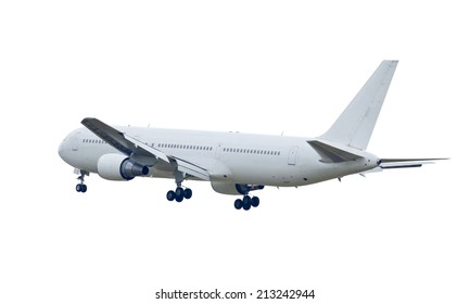 white commercial airplane isolated on white background This has clipping path