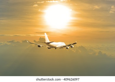 white commercial airplane on sky background