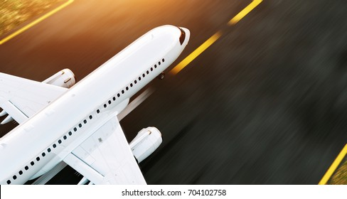 White commercial airplane standing on the airport runway at sunset. Passenger airplane is taking off. Airplane concept 3D illustration.