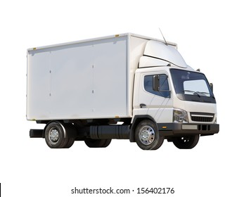White commercial delivery truck isolated on a white background