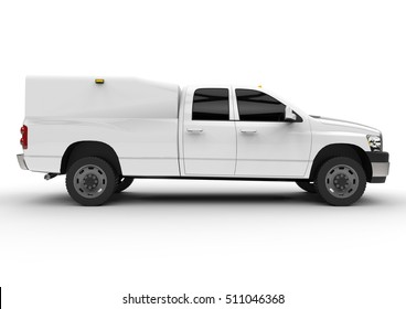 White commercial vehicle delivery truck with a double cab and a van. Machine without insignia with a clean empty body to accommodate your logos and labels. 3d rendering.