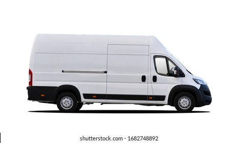 white commercial vehicle isolated on white background