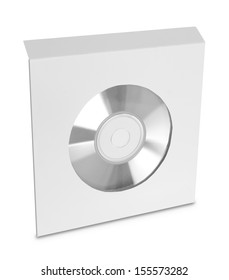 white compact disc package on white background ready for your design