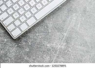White computer keyboard. Top view.