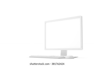 White computer monitor, keyboard and mouse with white blank screen isolated on white background