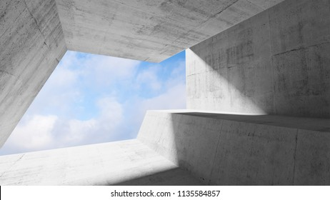 White concrete interior with blue cloudy sky in window. Modern minimalist architecture background, 3d render illustration