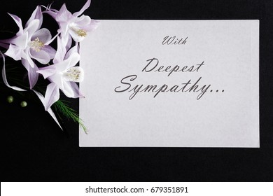 Condolence card images stock photos vectors shutterstock white condolence card with text and fresh flowers on the dark background altavistaventures Images