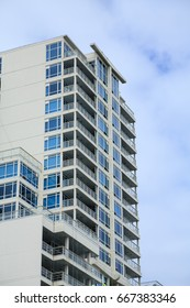 White condos with Blue Terraces in Nanaimo
