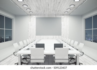 White conference interior with blank wooden wall, equipment and night city view. Mock up, 3D Rendering