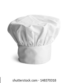 White cooks cap isolated on white background.