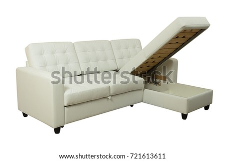 Fantastic White Corner Leather Folding Bed Sofa Royalty Free Stock Image Camellatalisay Diy Chair Ideas Camellatalisaycom