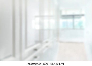White corridor blur Soft focused image useful as background