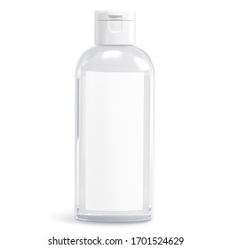 Сlear white cosmetic bottle isolated on white background. Hand sanitizer bottle. Antimicrobial liquid gel. Hand hygiene. Shampoo bottle. 3D rendering - Shutterstock ID 1701524629