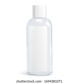 White cosmetic bottles isolated on white background. Hand sanitizer bottle. Antimicrobial liquid gel. Hand hygiene. Shampoo bottle. 3D rendering - Shutterstock ID 1694381071
