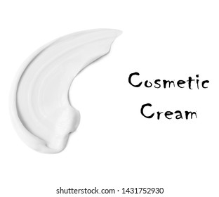 White Cosmetic CC Cream Isolated on White Background. Lipstick Smears. Liquid Foundation Strokes. Makeup Cosmetics Smudge Top View. Grooming Products. Skin Tone BB or DD Cream. Lip Gloss Swatches