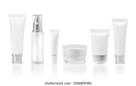 White cosmetic containers isolated on white background