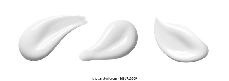 White cosmetic cream texture. Set of  lotion swatches isolated on white background. Beauty skin care product smear smudge drop. BB CC cream swipe sample