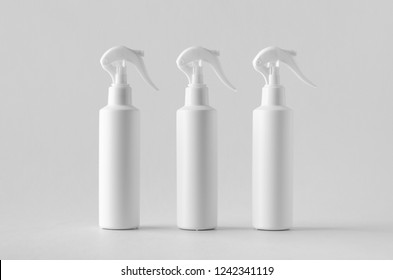 White cosmetic trigger sprayer bottle mockup.