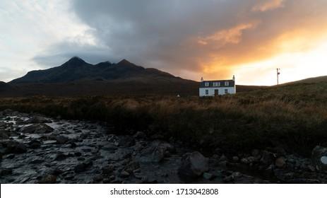 White Cottage on the Isle of Skye, Sunset (Unedited)